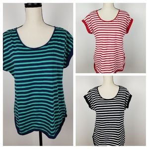 3 Liz Claiborne Women's Striped T-Shirts, Large